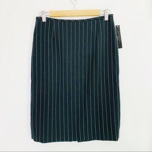 Tahari Black and White Striped Pencil Skirt